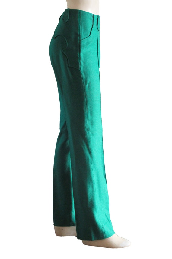 70's High Waist  'Lasso' Cowgirl Yoke Tweed Linen