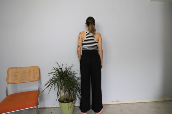 80's Wide Leg Black High Waist Wide Leg Pants - image 4