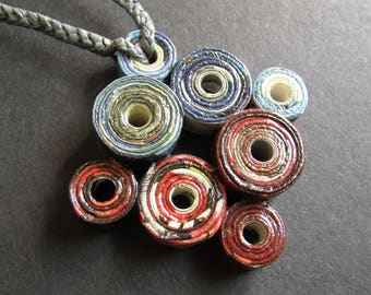 """Paper Necklace, Bohemian Medallion, Red and Blue Circles Necklace, Compass of Wind and Fire, First Anniversary Gift """"Forgotten Compass #2"""""""