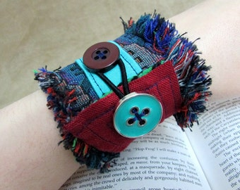 """Textile Art Cuff Button Bracelet, Turquoise, Red, Soft Fabric Cuff, Whimsical Cotton Anniversary Gift for Her """"Steam-Goth & Punk-torian #1"""""""