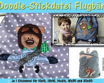 Doodle-Motif Flugbär-stick file set for 10 x 10 cm to 20 x 30 cm frame