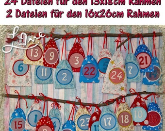Advent calendar in the hoop for the 13 x 18 cm frame