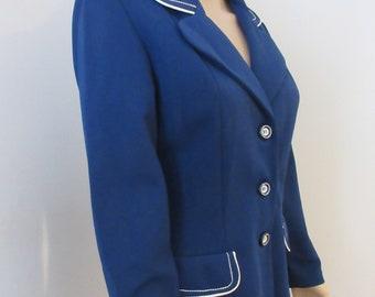 Very BEAUTIFUL Vintage 1960/'s Navy /& White Crimplene Jacket Cute!!