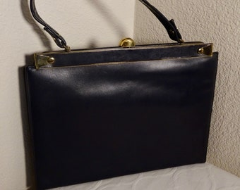 """LOVELY 1950's Navy Leather Handbag, Fawn PVC interior, Heavy 'CLUNK"""" Clasp Close - Great!!"""