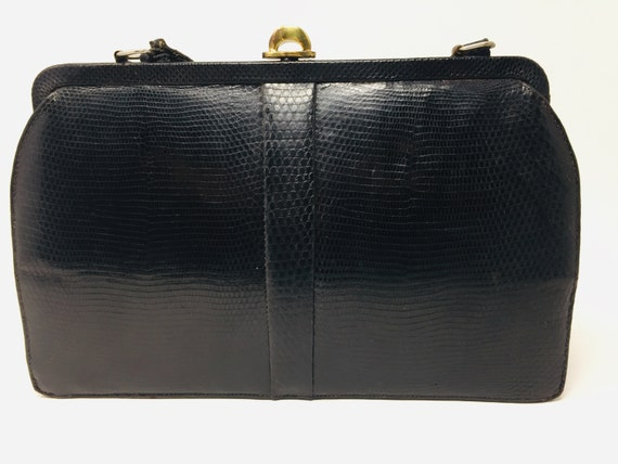 BEAUTIFUL Vintage 1940's Black Snakeskin Handbag M