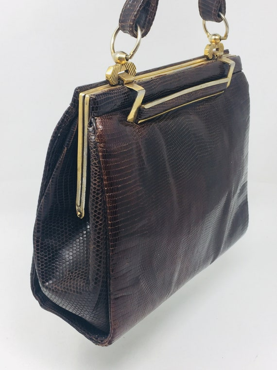 BEAUTIFUL Vintage 1940's Snakeskin Handbag - Love… - image 2