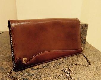 BEAUTIFUL Vintage 1970's Leather 'Pierre Cardin' Handbag - Detachable Strap For Clutch Wear