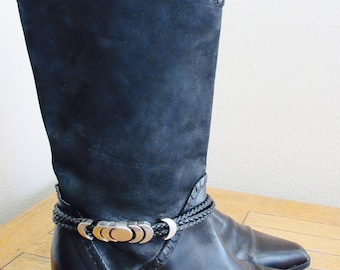 BEAUTIFUL Vintage 'Via Spiga' Black Suede & Leather Knee Boots, Silver Detail, UK Size 7, USA Size 9