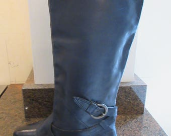 Vintage Dark Blue Leather Flat Knee Boots Made By 'Office' - UK Size 3.5, Euro 36 - Lovely!!