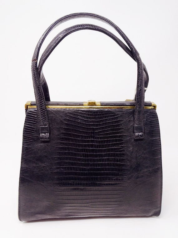 BEAUTIFUL Pre-War Vintage 1940's  Black Snakeskin