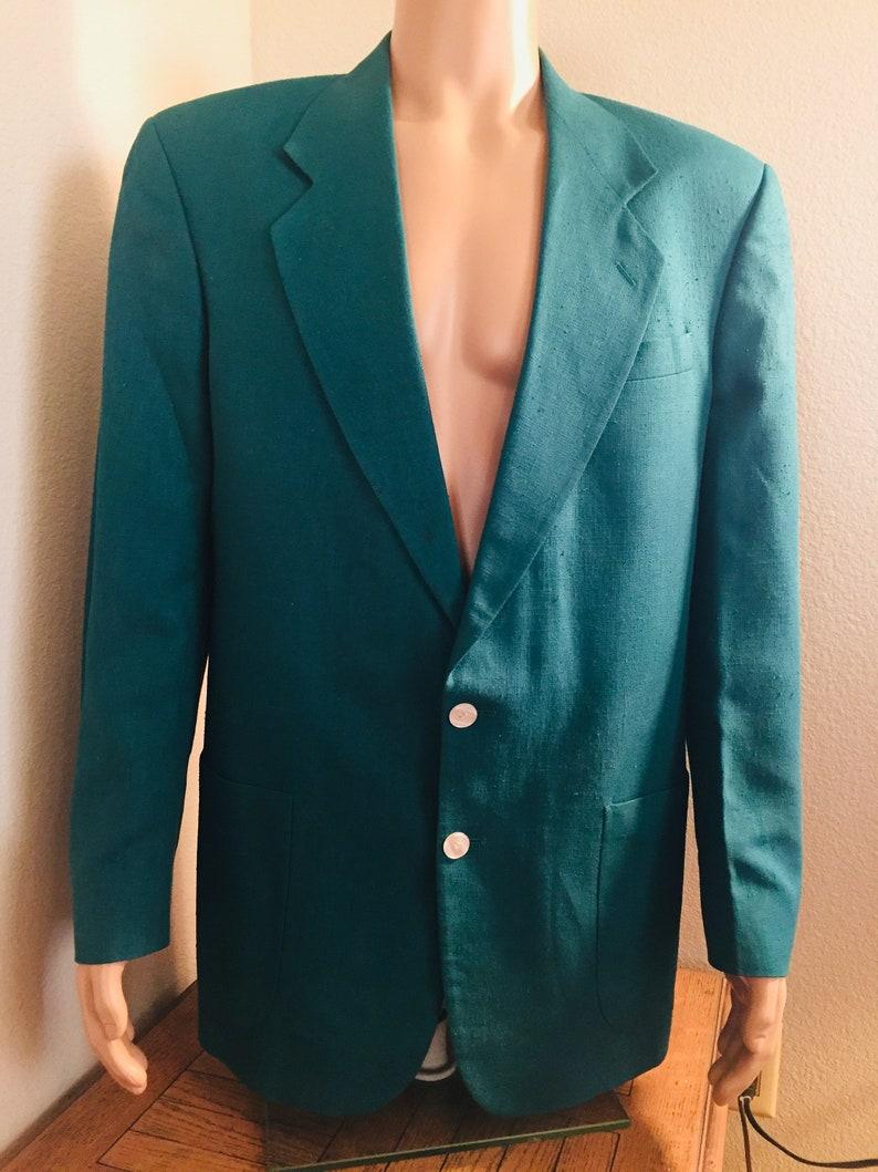 GREAT!! Chest 44 LOVELY Mens Vintage 1980/'s Teal Green Jacket Made By /'Oscar De La Renta