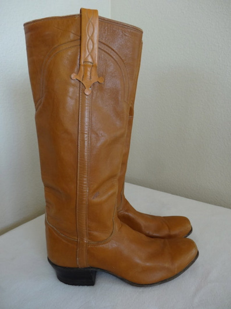 2082499d8c8 Vintage Tan Leather Womens Cowboy Boots Made In USA By 'Tony Lama' - UK  Size 5.5