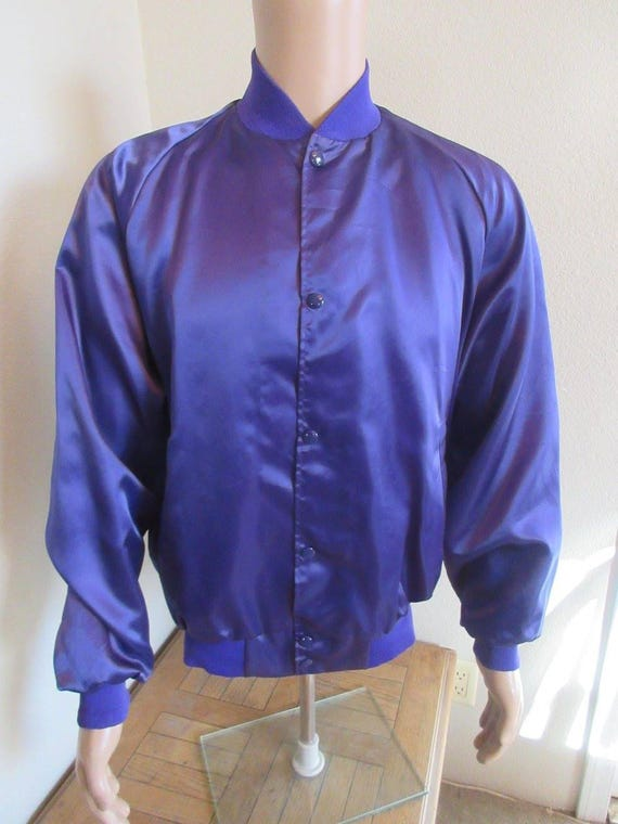 f4ab4da12101fd Vintage Purple Silk Bomber Jacket MADE In USA By  ASW