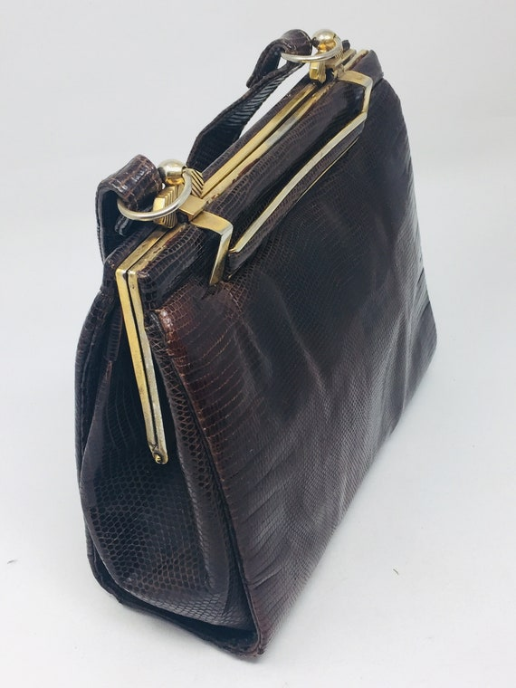 BEAUTIFUL Vintage 1940's Snakeskin Handbag - Love… - image 8