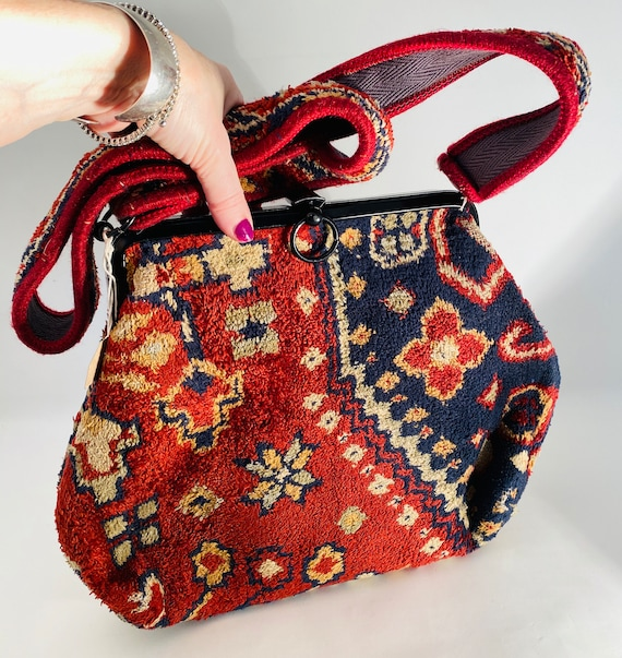 LOVELY Vintage 1980's 'Carpetbag' Handbag, MADE In