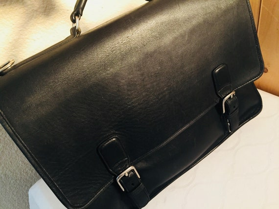 LOVELY Vintage 1980's Black Leather Handbag / Brie