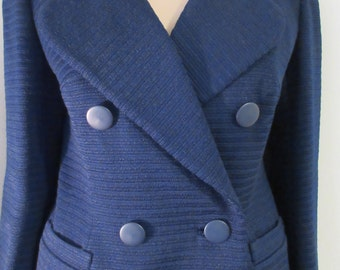 Vintage 1950's Navy Blue Jacket Skirt Suit MADE IN ENGLAND By 'Cojana' - Chest 38""