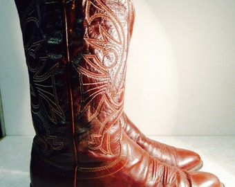 Lovely Mens Vintage Cowboy Boots Made In USA By 'Olathe' UK Size 5.5, USA 6.5D