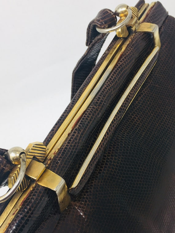 BEAUTIFUL Vintage 1940's Snakeskin Handbag - Love… - image 4