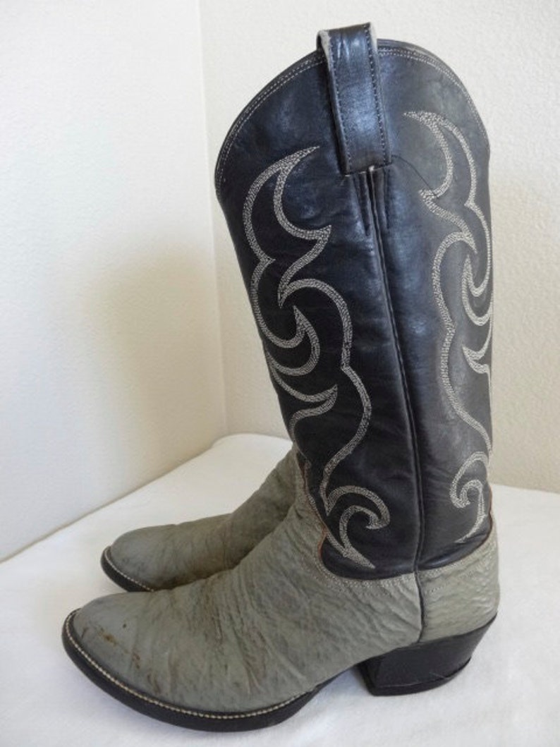 Vintage Leather \u0026 Sharkskin Cowboy Boots Made In USA , UK Size 8.5 , Nice!!