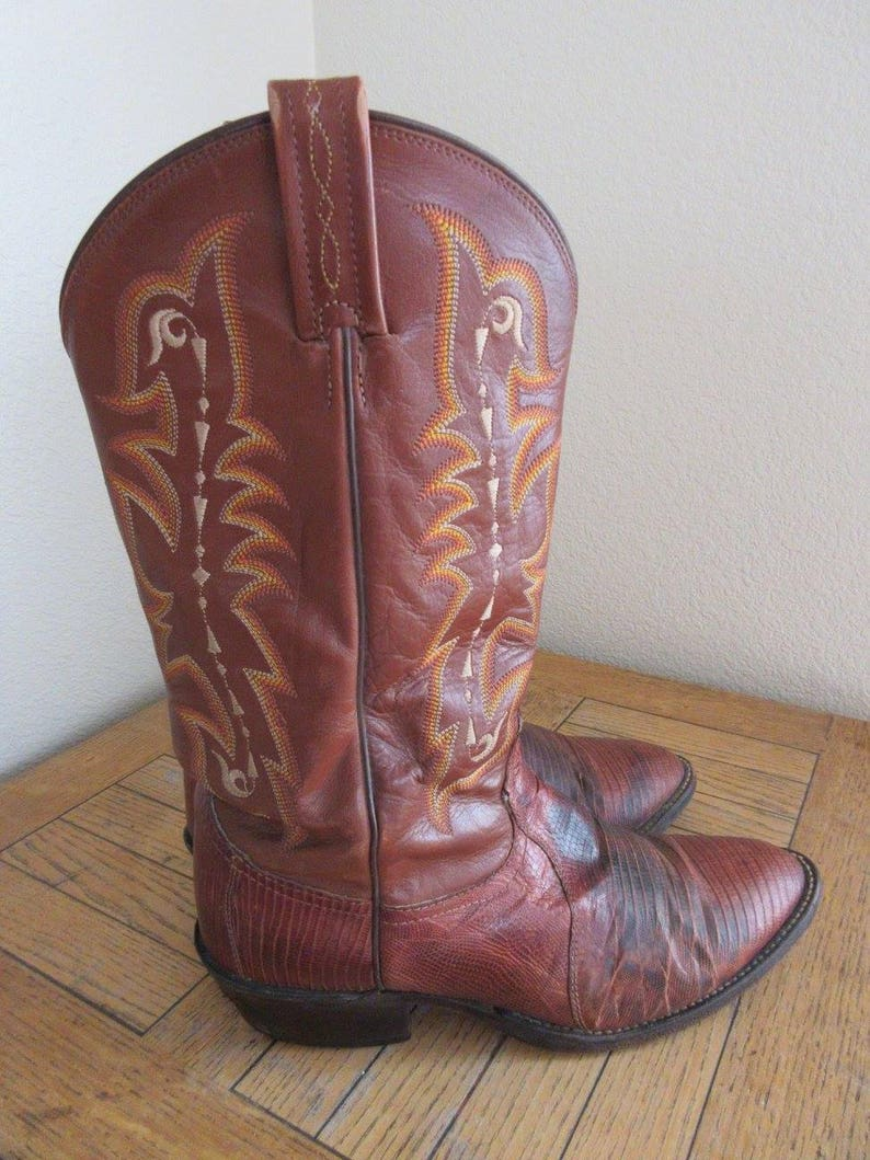 e0a3e427dee Vintage Mens 'Tony Lama' Cowboy Boots Made In USA UK Size 8.5