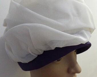 Vintage 1960's Purple & White Hat - Very Cute!!