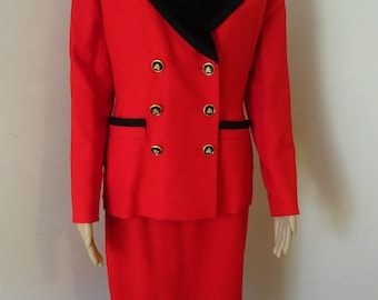 STUNNING Red & Black Typical 80's 'Power Suit' Made In LONDON By 'Mansfield Clothes'