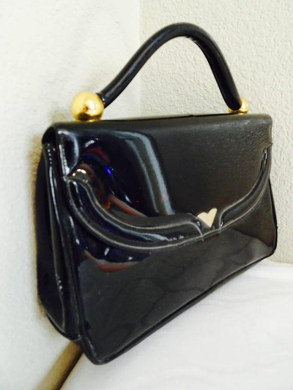 vêtements de sport de performance style à la mode la moitié TRÈS beau Vintage en cuir verni noir sac à main Made In USA par « Morris  Moskowitz » - belle !!