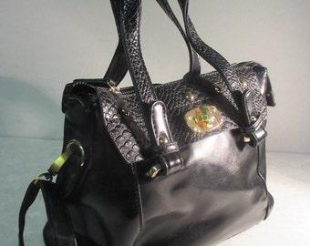 LOVELY Vintage 'David Jones' Black Leather 1990's Handbag, Double Handled - Cute!!