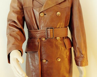 BEAUTIFUL Vintage 1960's Mens Buckskin Leather Jacket Made In Spain By 'Santiago Piques' - Chest