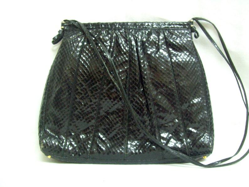 c8f9bcb958fb Judith Leiber Genuine Black Snakeskin Python Handbag Tote
