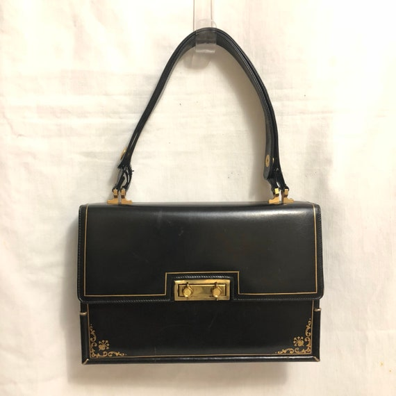 Black Leather Accordian Bag with Gold Tooled Detai