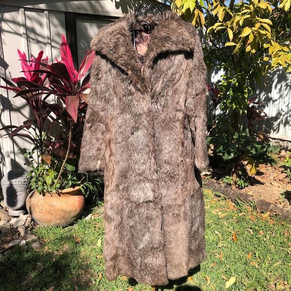 Vintage Gray Fox Fur Full Length Coat, Fur Jacket,