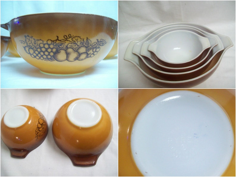 Vintage Pyrex Orange and Brown Ovenware Mixing Bowl Set 4411 with Fruit Paintings