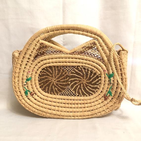Vintage Floral Straw Bag, Wicker Handbag, Structur