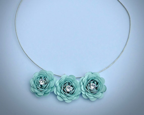 Inpsirational Garden Rose Statement Necklace in 'Aquamarine' Card and Paper