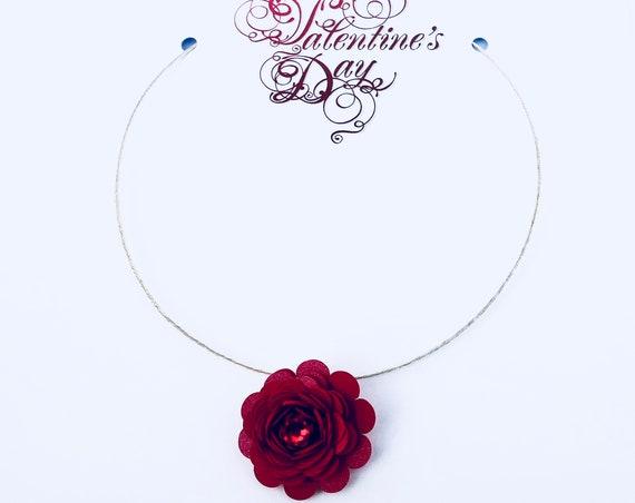Valentine's Gift Garden Rose Statement Necklace in Red Card