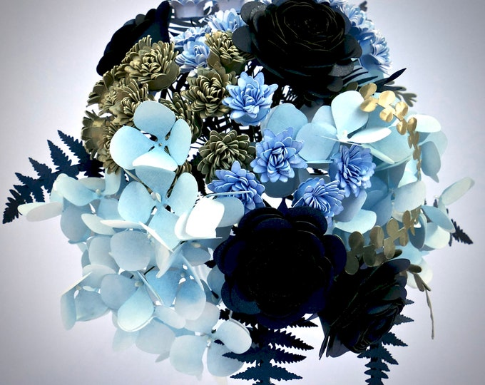 Featured listing image: Ready to Ship Paper Flower Bouquet Featuring Flowers and Foliage in Blue and Champagne