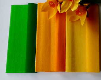 3 Sheets of Doublette (double-sided) Crepe Paper, light green/moss, yellow/golden yellow and yellow/light yellow