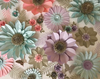 Lavender, Coral, Aquamarine and Pearl Giant Paper Flower Backdrop, Wall Decoration, Photography Prop