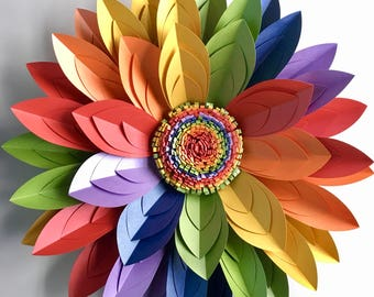 "40cm (16"") 3D Rainbow Paper Flower Wall Décor, Table Centrepiece, LGBTQIA+ Rainbow"