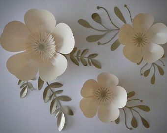 Set of 3 simple but elegant paper roses with foliage, perfect for nursery and wedding decor.