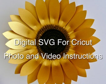 SVG Template, 3D Golden Sunflower Digital SVG Template For Cutting Machines with photo and video instructions