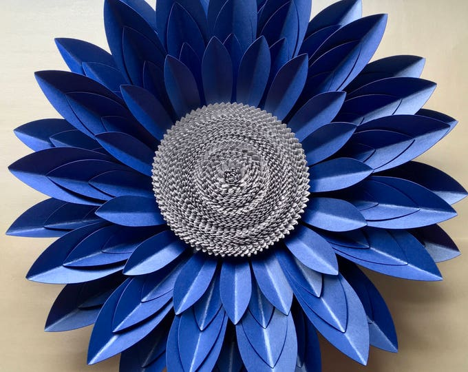 Featured listing image: 40cm Royal Blue and Silver 3D Paper Flower Wall Décor