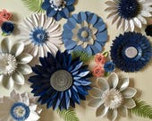 Royal Blue and Silver Giant Paper Flower Backdrop, wall decoration, photography prop