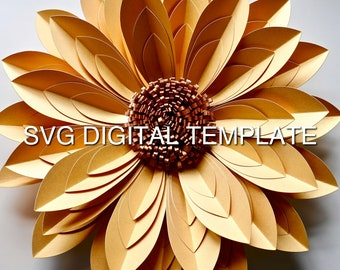 SVG Template, 'Eleanor' Flower Digital SVG Template For Cutting Machines and Instructions