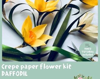 Crepe Paper Daffodil Kit - Doublette Crepe Paper - Free shipping for UK customers
