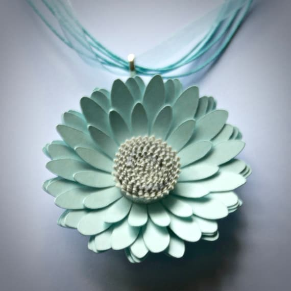 Gerbera Daisy Statement Necklace in Aquamarine Card and Paper