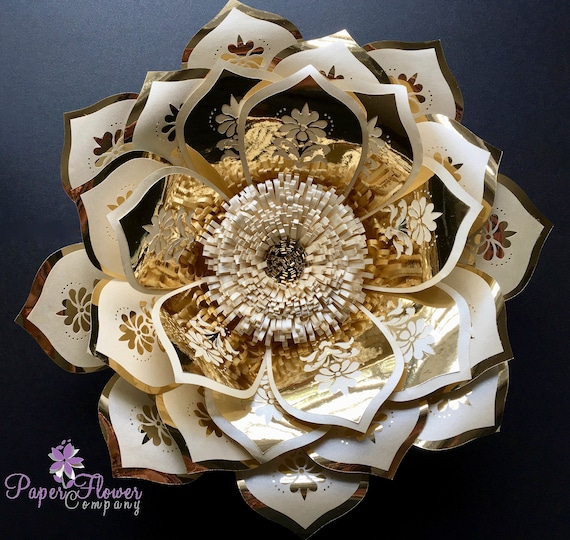 Gold and ivory statement paper flower a beautiful addition to a flower wall backdrop
