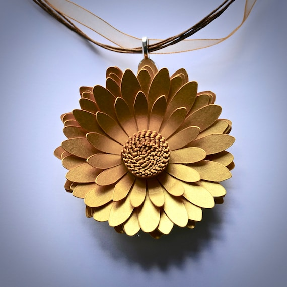 Gerbera Daisy Statement Necklace in Fine Gold Card and Paper